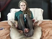 Hot blonde housewife performs a footjob and makes hubby cum