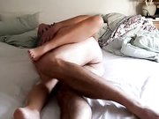 Mature amateur couple makes passionate sex and love in bed