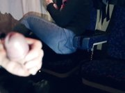 Girl gives a stranger a blowjob in train and swallows his cum